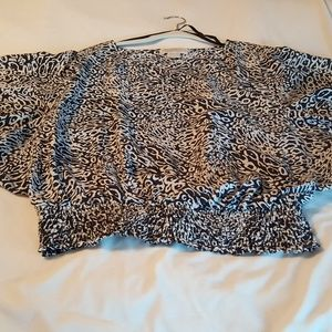 Michael Kors Silk Gathered Animal Print Top